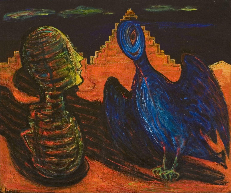 El Kazovszkij: Dupla fej szirénnel / A szárnyas Dzsan kettő (tojásain ülő szirén)