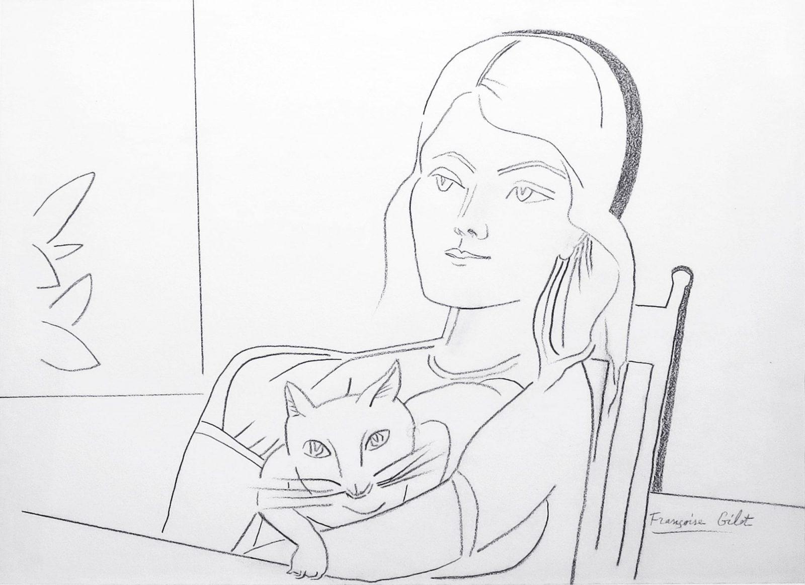 Françoise Gilot: Lány macskával