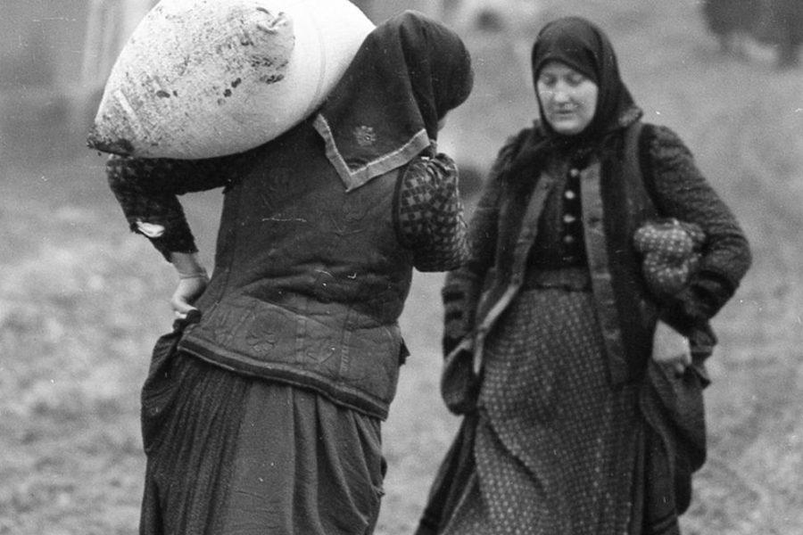 Péter Korniss: Woman Carrying Sack
