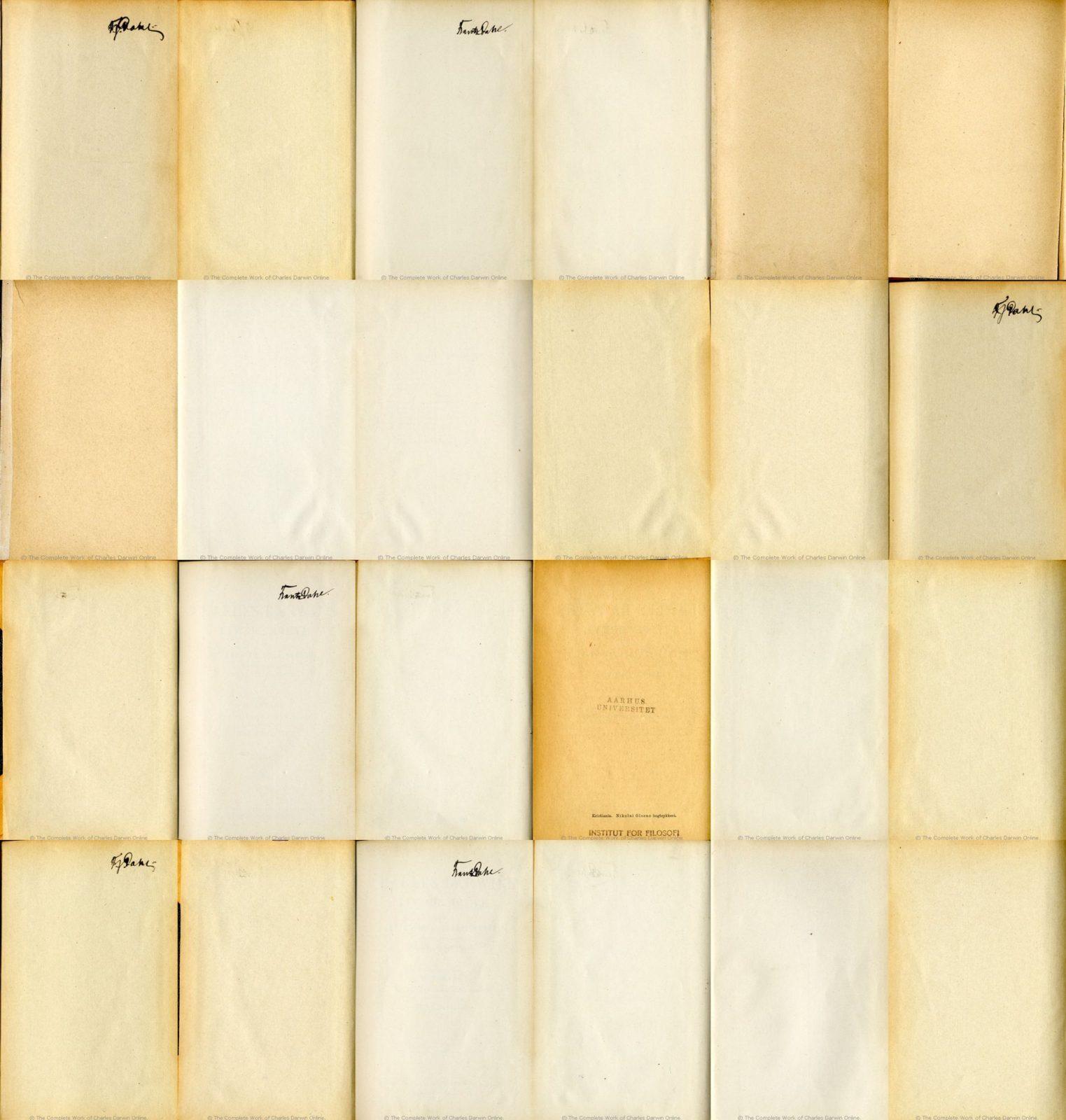 Akos Czigany: 24 Blank Pages: Francis Darwin (ed.): Charles Darwins liv og breve med et kapitel selvbiografi. Translated by Martin Simon Soraas. Fagerstrand pr. Hovik: Bibliothek for de tusen hjem. Vols. 1-3. 1889